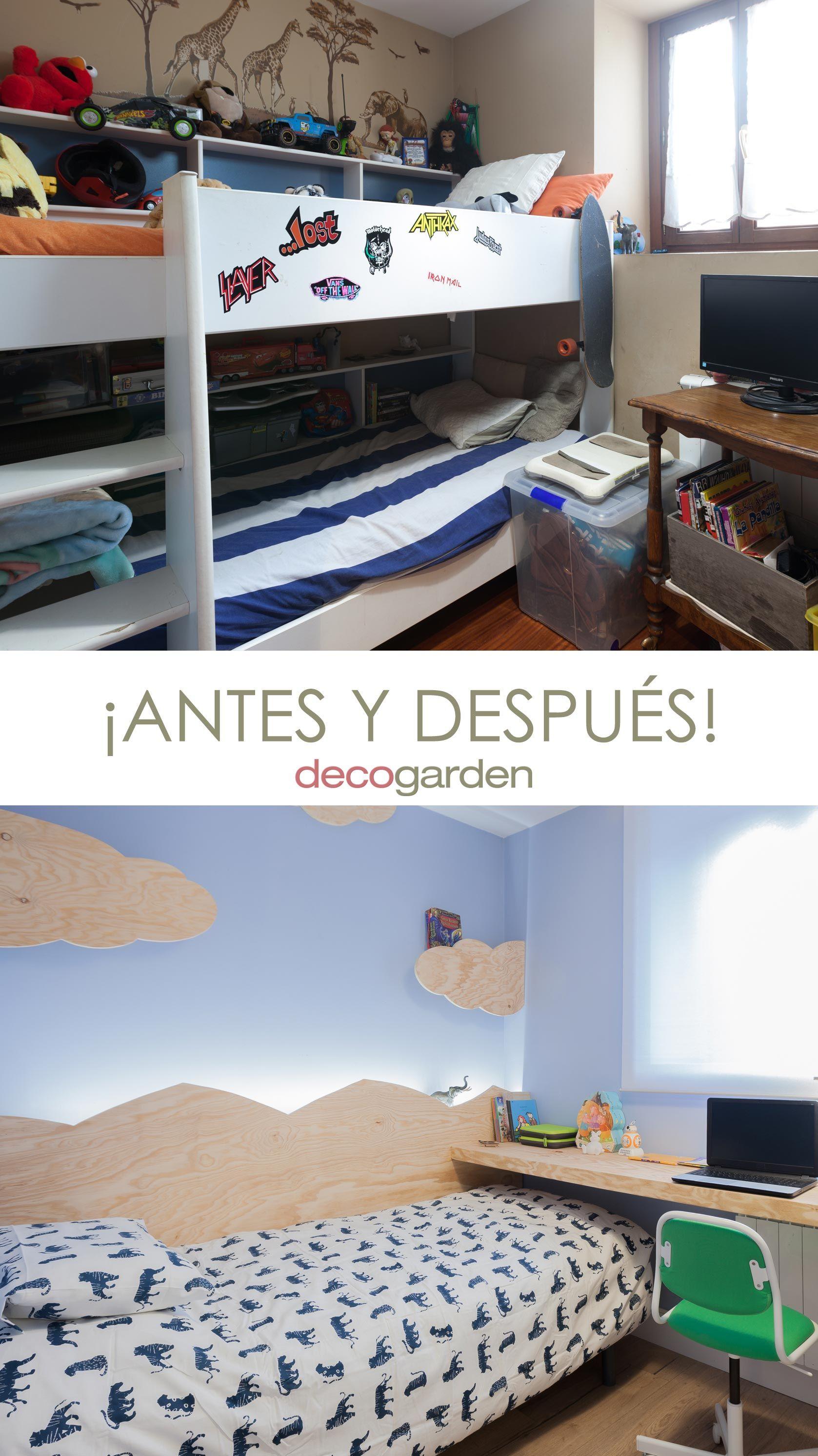 decorar un dormitorio infantil con escritorio y friso de madera - antes y después