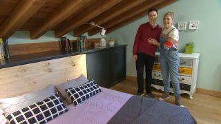 Dormitorio juvenil verde en buhardilla paso 10