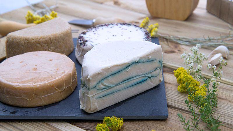 Variedad de quesos veganos en supermercados y tiendas de alimentación sabludable y ecológica.