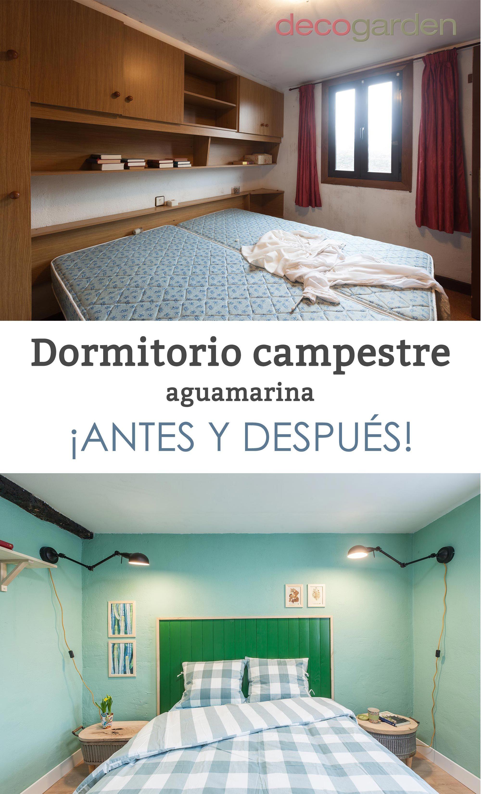Dormitorio campestre aguamarina