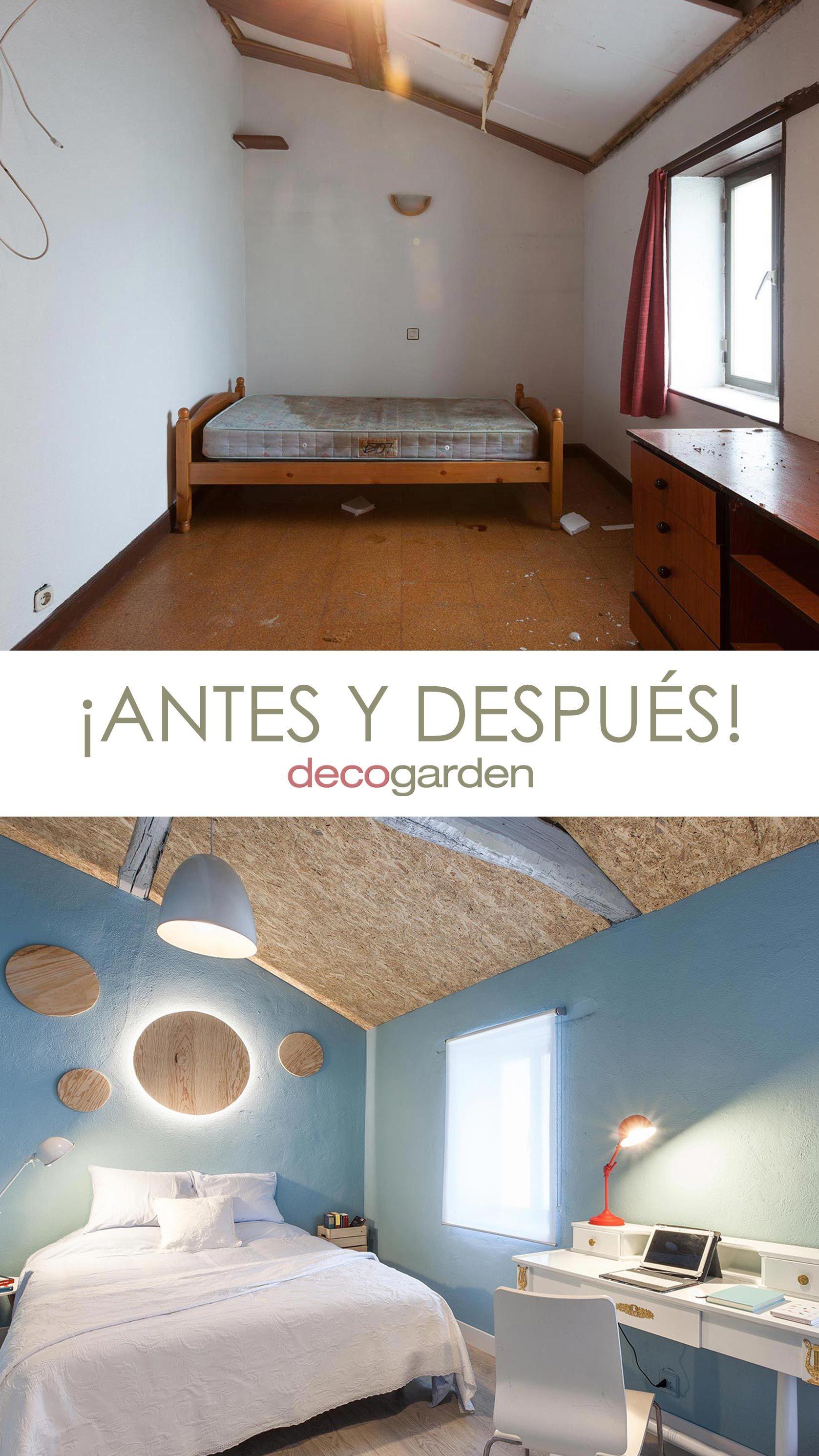 Dormitorio con detalles espaciales - antes y después