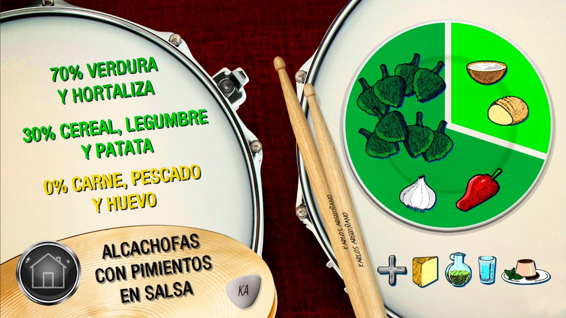 Plato del día - Alcachofas con pimientos en salsa.