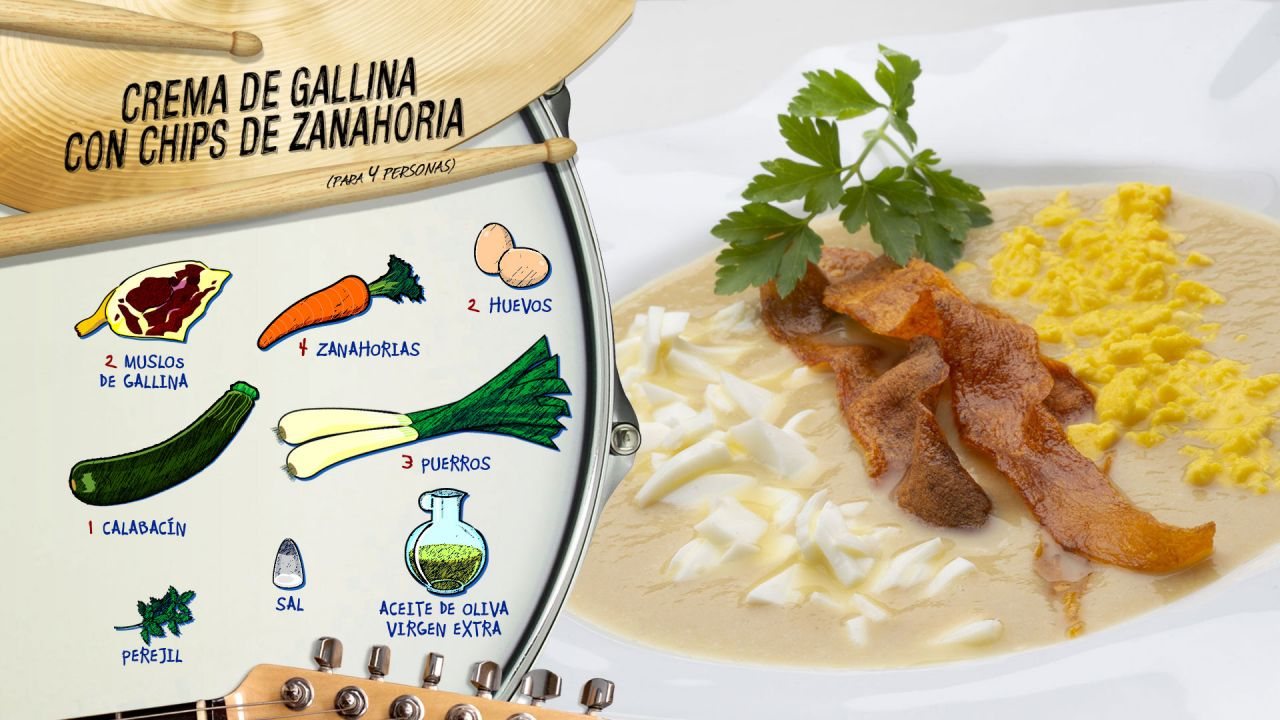 Crema de gallina con chips de zanahoria - Ingredientes
