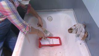 Cuarto de baño tricolor en gris paso 6