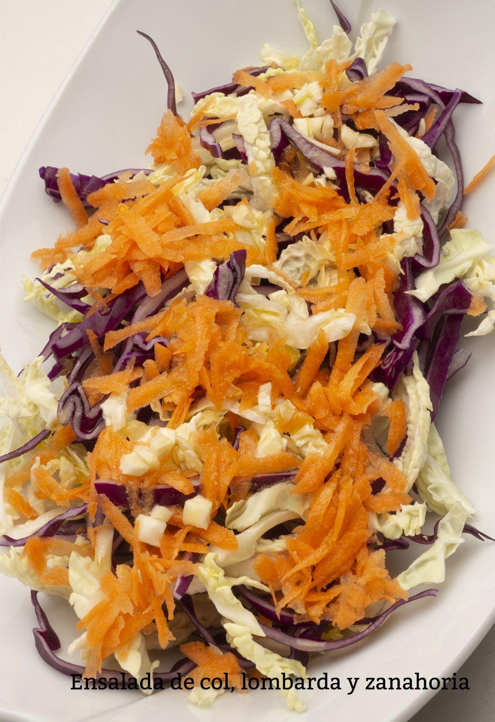 Ensalada de col, lombarda y zanahoria