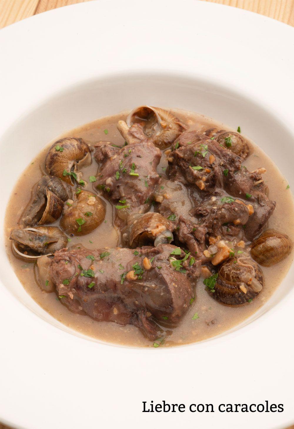 receta de liebre con caracoles