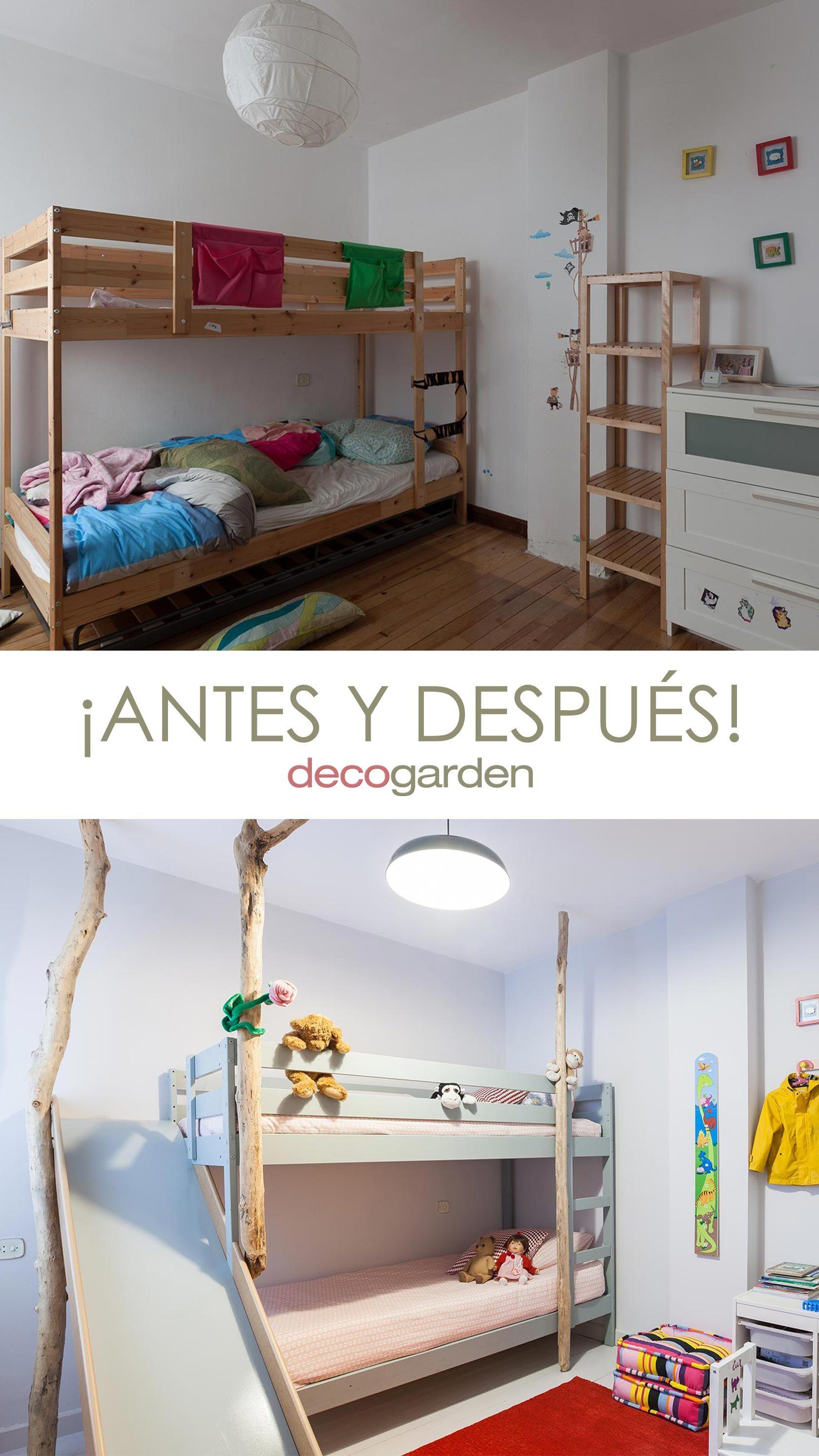 Habitación infantil con literas y tobogán