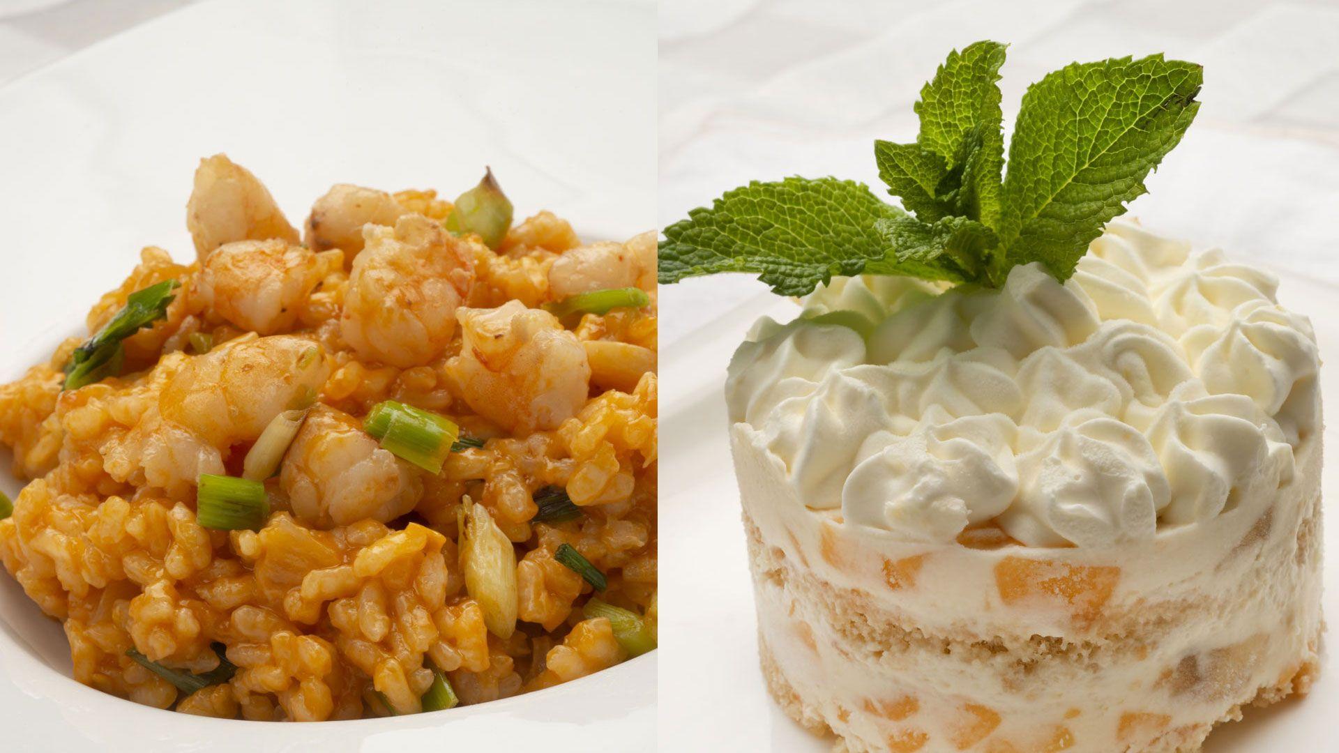 arroz con langostinos y tarta helada de frutas
