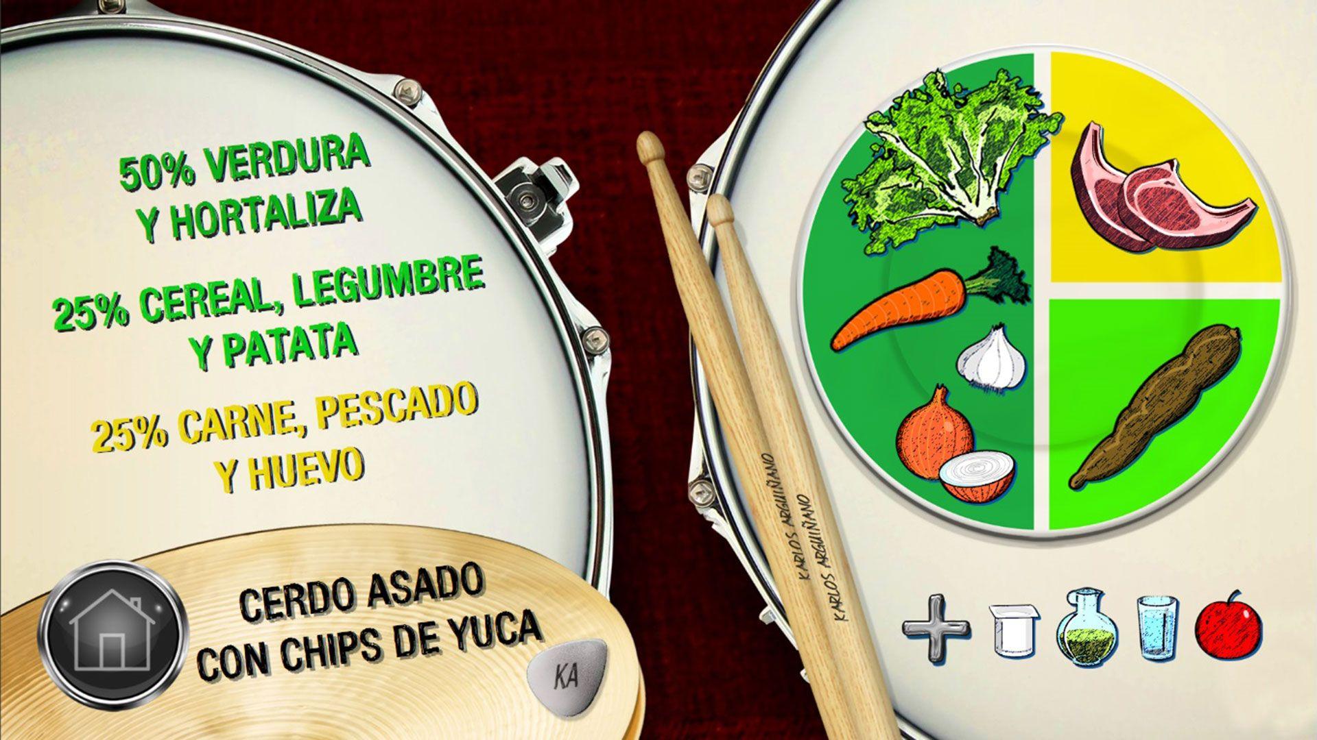 Plato equilibrado - Cerdo asado con chips de yuca
