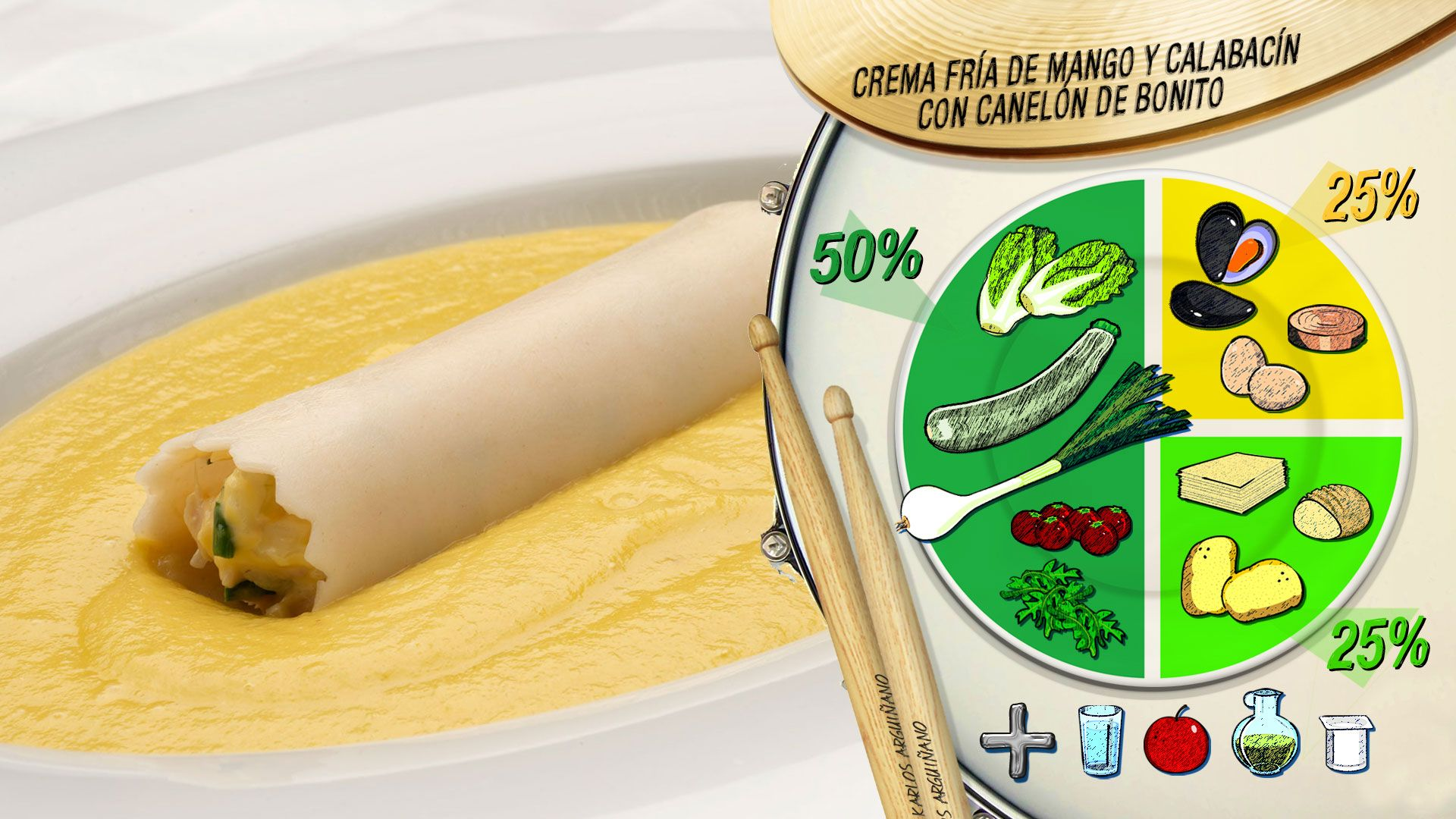 Plato del día: Crema fría de mango y calabacín con canelón de bonito