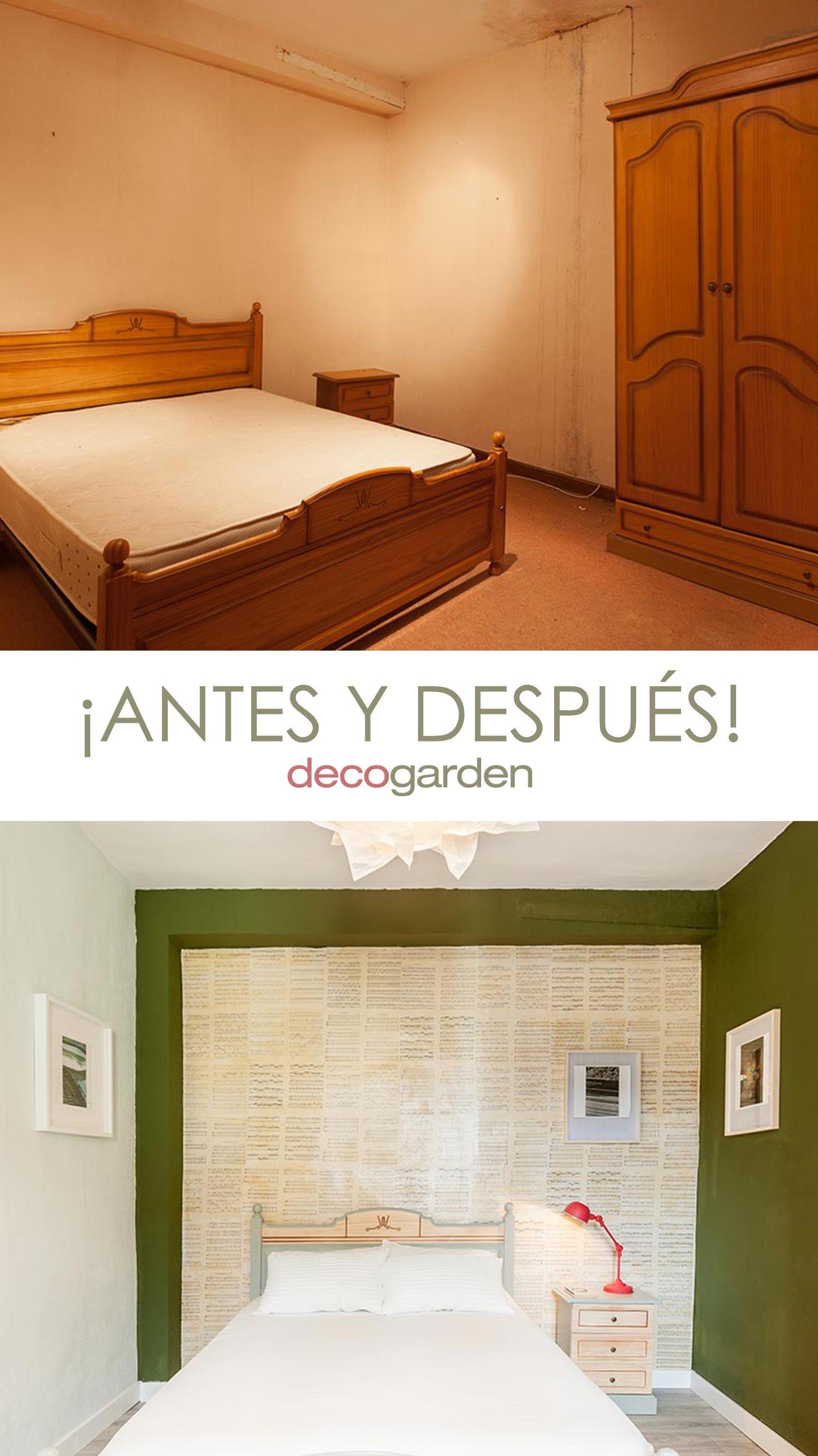 Dormitorio verde con decoración musical sin obra