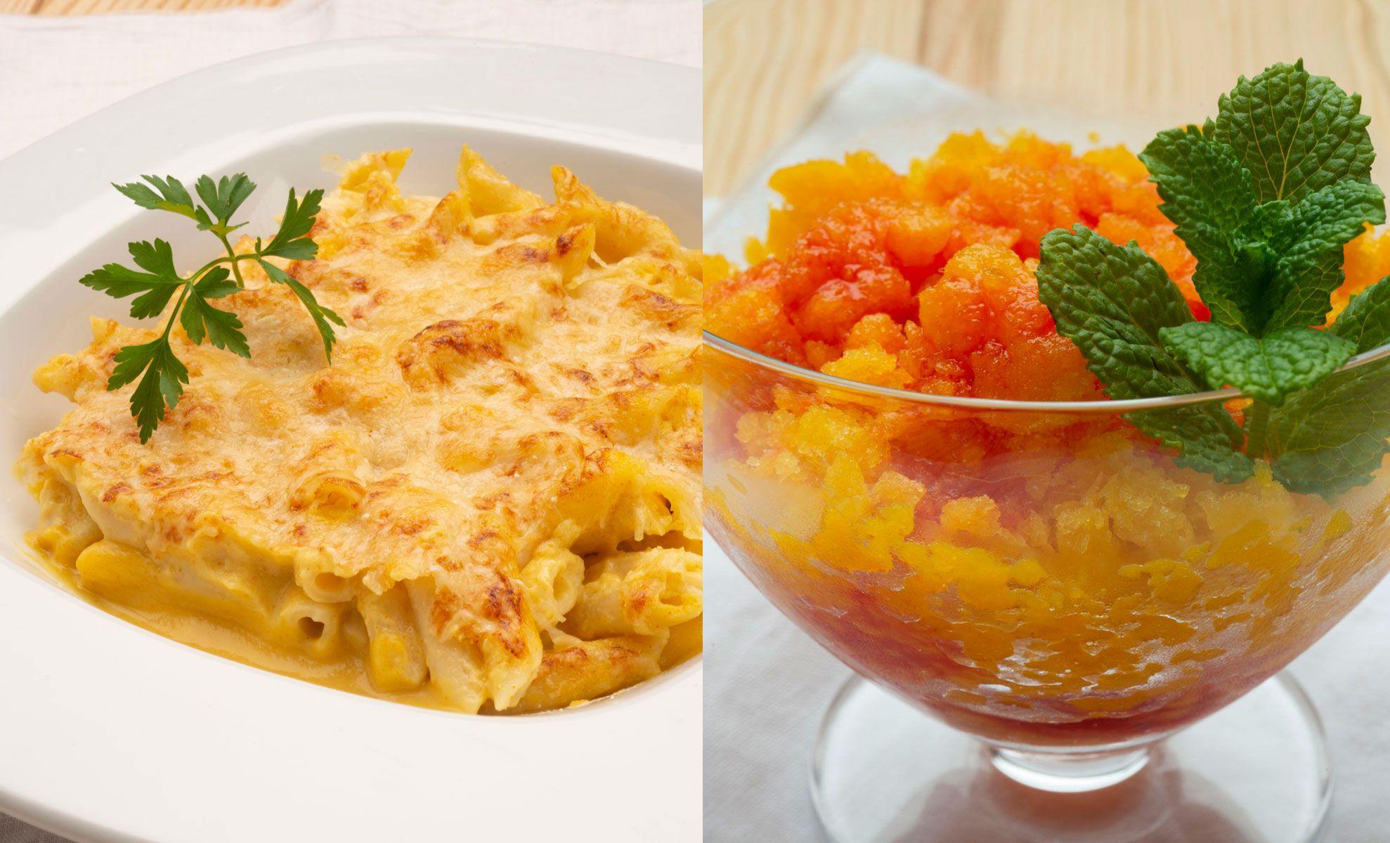 Macarrones con crema de calabaza y queso - Sorbete de mango con coulis de frambuesas
