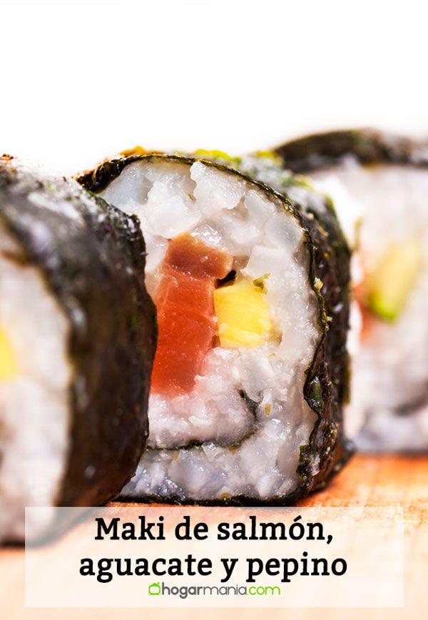 Maki de salmón, aguacate y pepino
