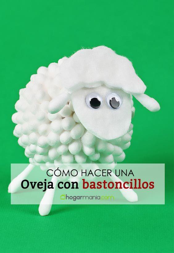 Cómo hacer una oveja con bastoncillos de algodón