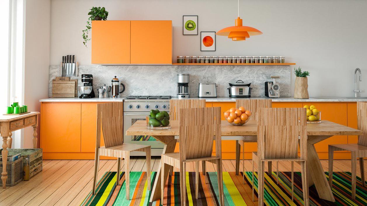 Colores muy llamativos para decorar la cocina