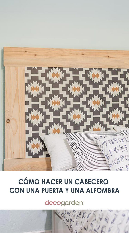 Cómo hacer un cabecero con una antigua puerta y una alfombra vinílica