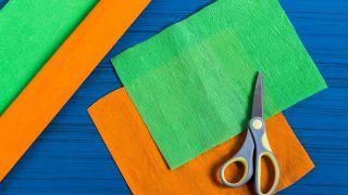 Zanahorias de papel crepé paso 1
