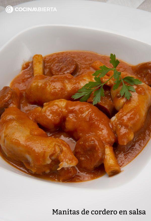 Manitas de cordero en salsa