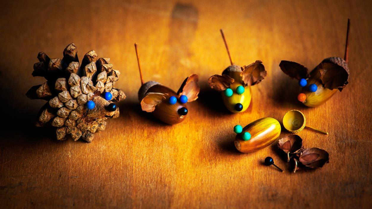 Ratones y erizos con bellotas y piñas