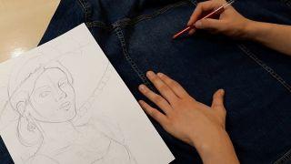 Cómo pintar a La Catrina en una chaqueta vaquera - paso 1