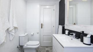 Cuarto de baño en blanco y negro elegante y luminoso sin obra