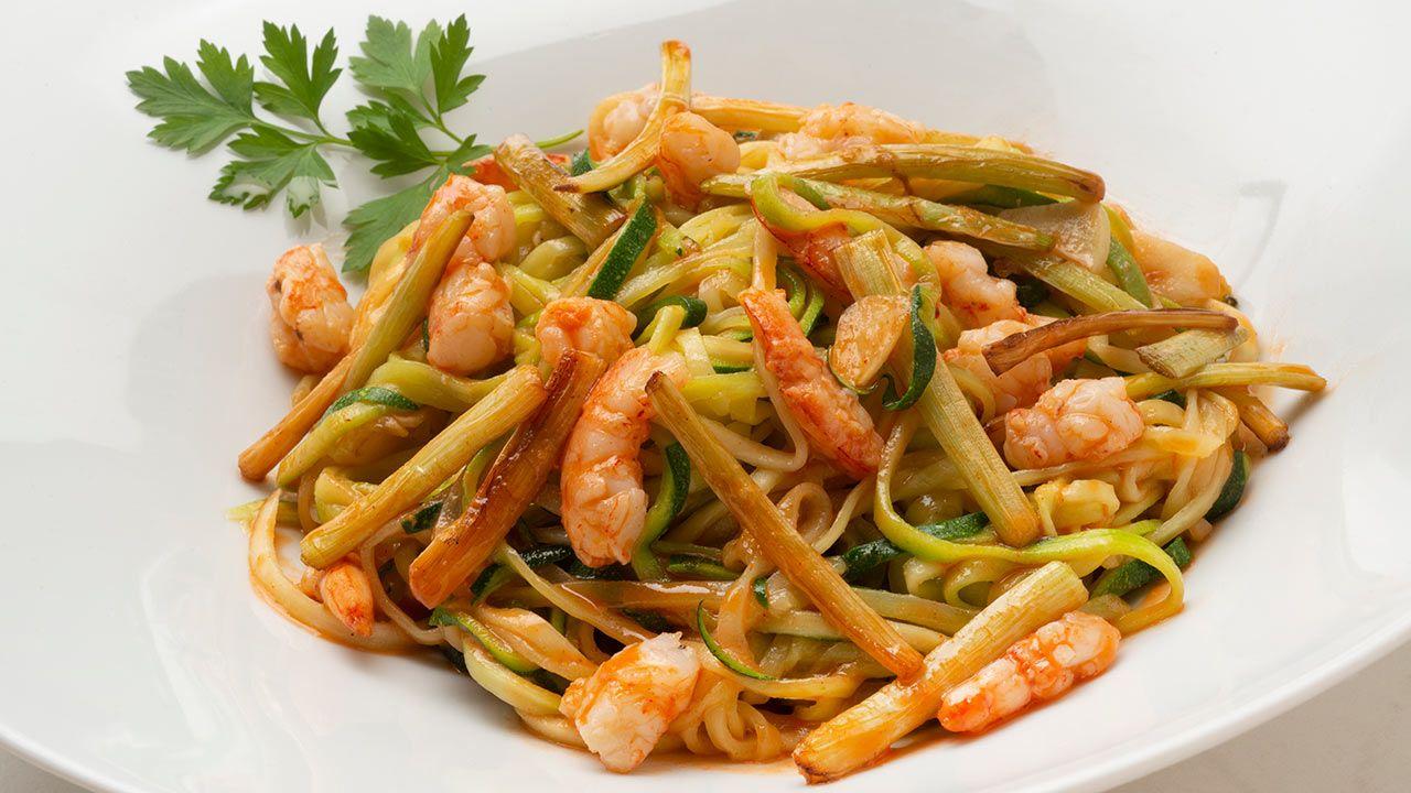 Receta de espaguetis de calabacín con gambas