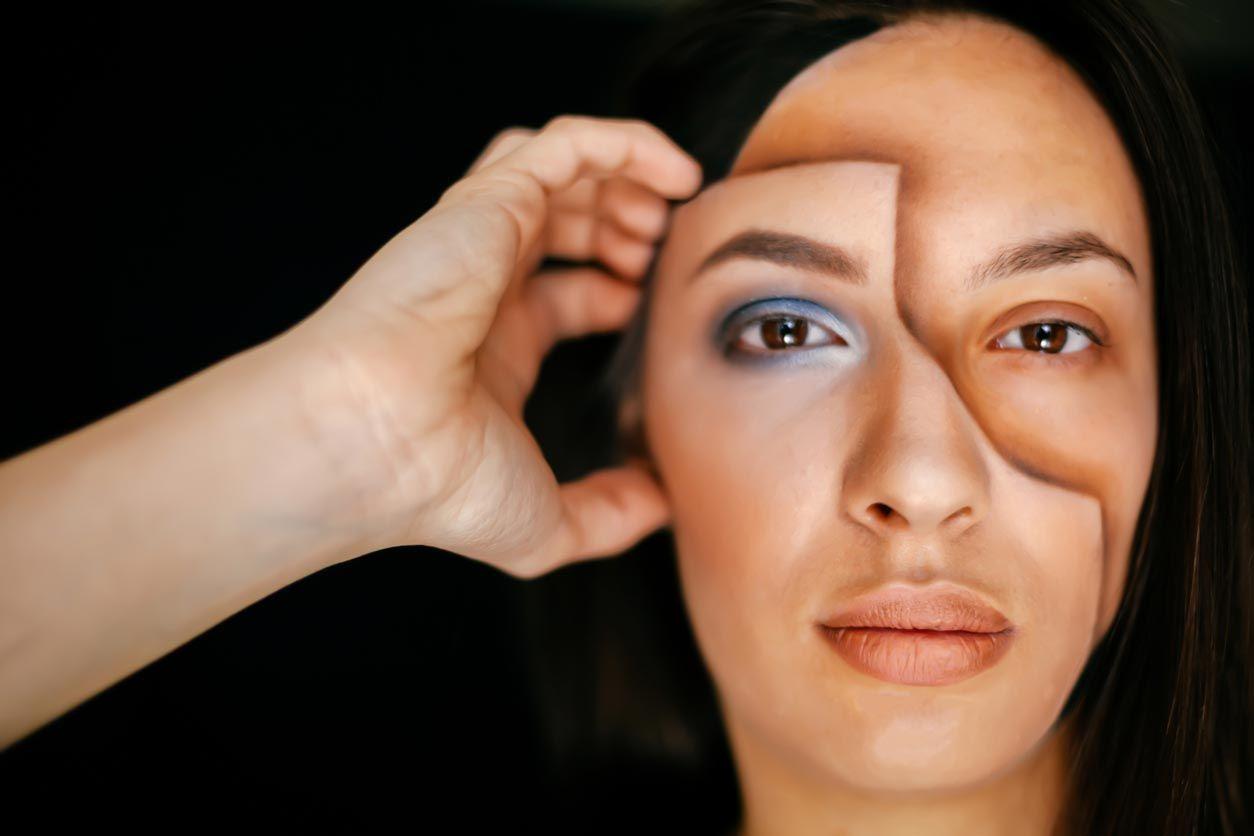 Maquillaje cara tipo máscara 3D