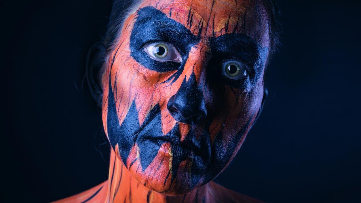 Maquillaje de calabaza terrorífica para Halloween