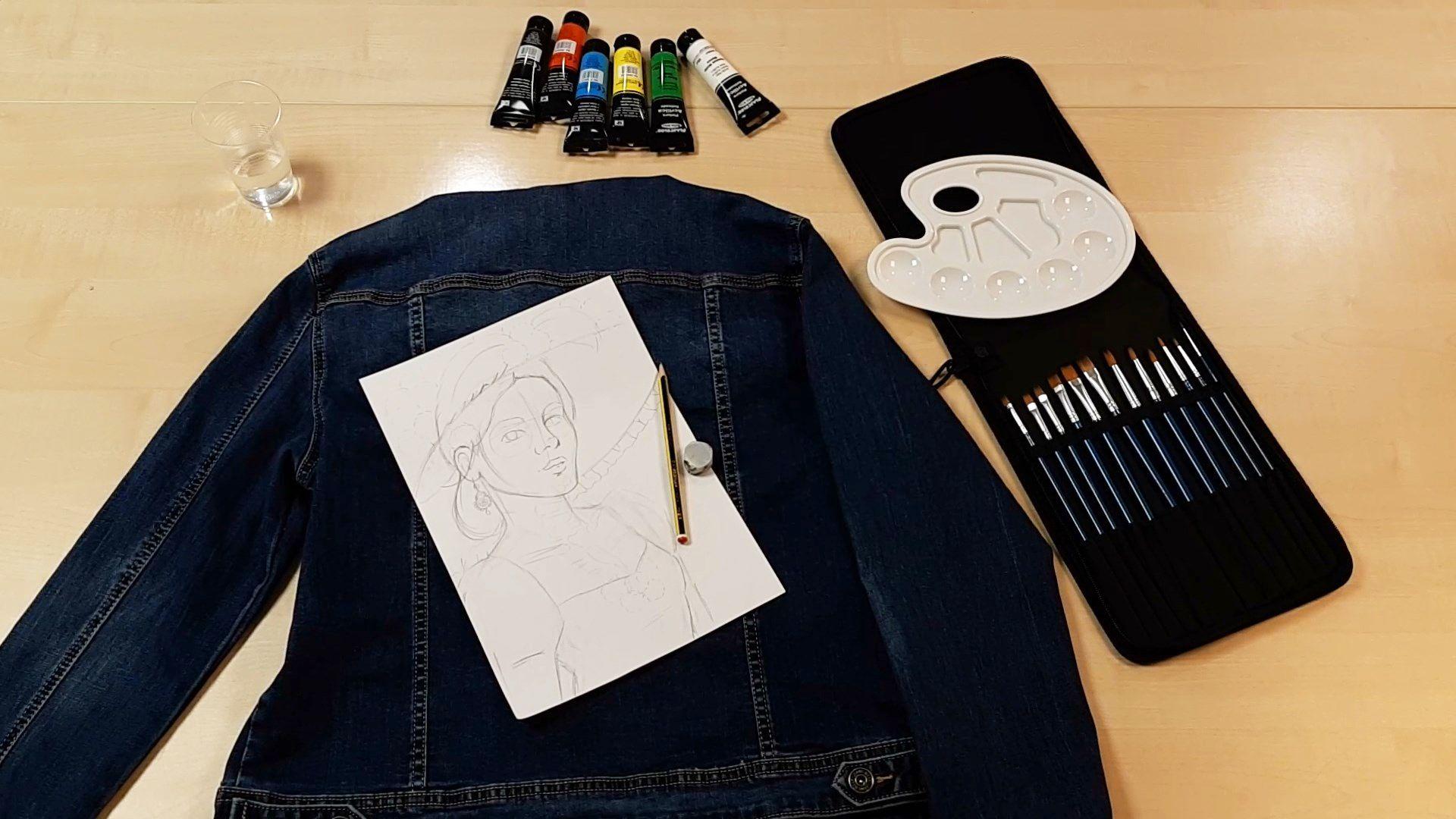 Materiales necesarios para pintar a La Catrina en una chaqueta