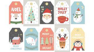 Etiquetas con ilustraciones navideñas