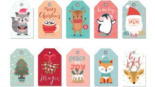 Etiquetas navideñas con ilustraciones