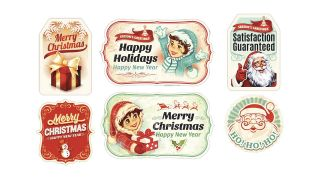 Pegatinas navideñas de estilo vintage