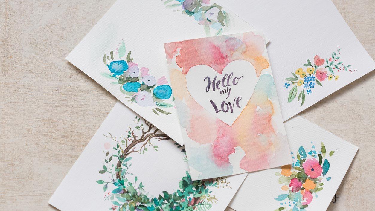 Acuarelas y lettering para San Valentín
