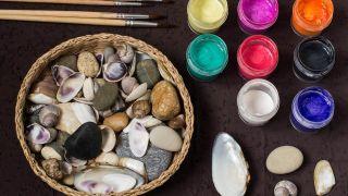 Cómo pintar conchas y piedras con puntillismo - Materiales