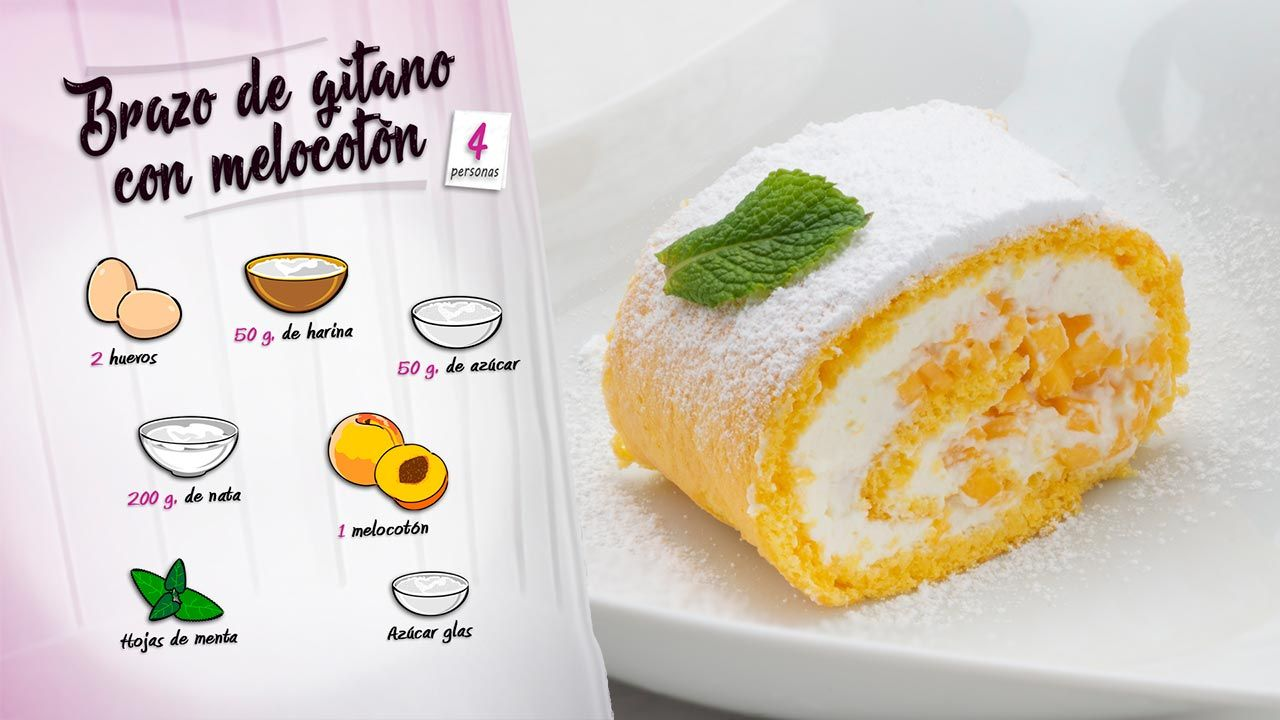 Receta de brazo gitano con melocotón de Eva Arguiñano - Ingredientes