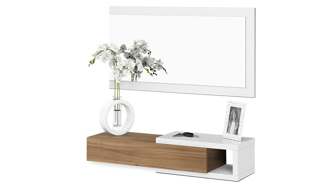 Mueble recibidor en blanco y madera