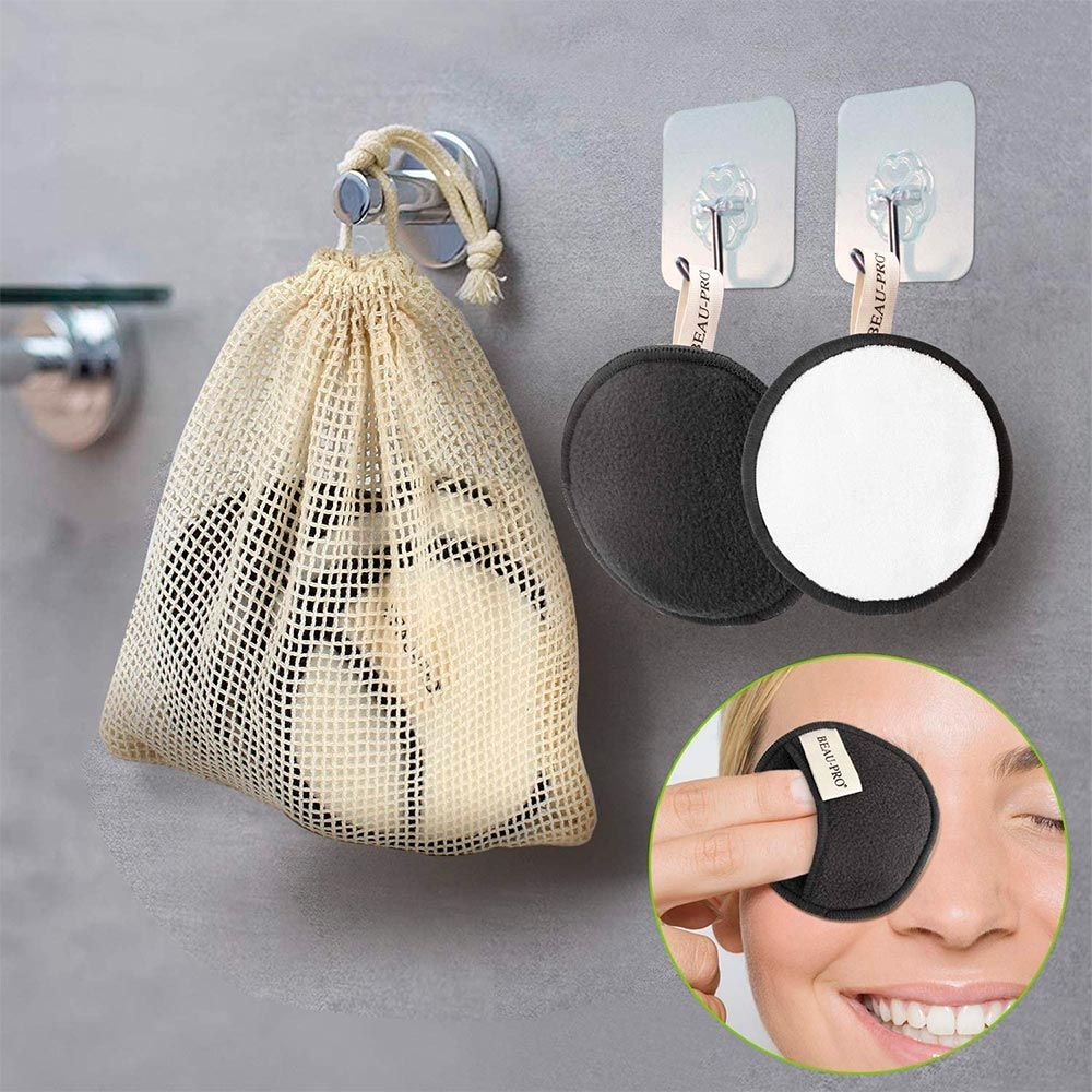 Discos desmaquillantes reutilizables de doble cara con bolsa lavable