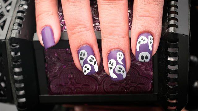 Diseños de uñas para manicuras de Halloween - Fantasmas