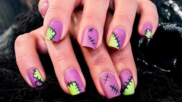 manicura de Halloween - Diseño de uñas de Frankestein