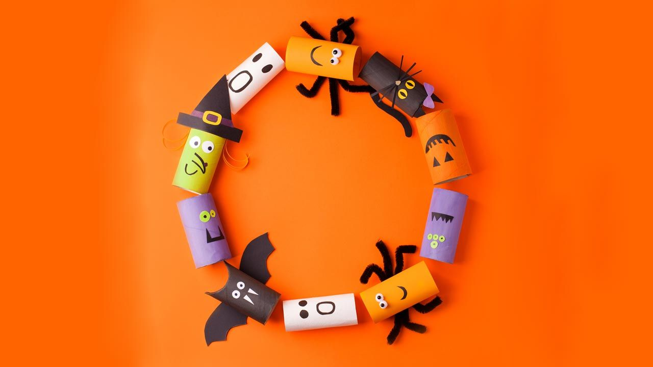 Cómo hacer monstruos de Halloween reciclando el cartón del papel higiénico