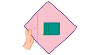 Cómo hacer la envoltura Otsukai Tsutsumi con telas Furoshiki (infografía paso 2)