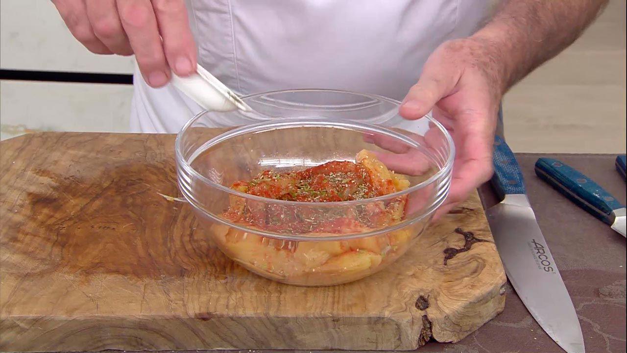 Pollo gabardina con patatas aliñadas
