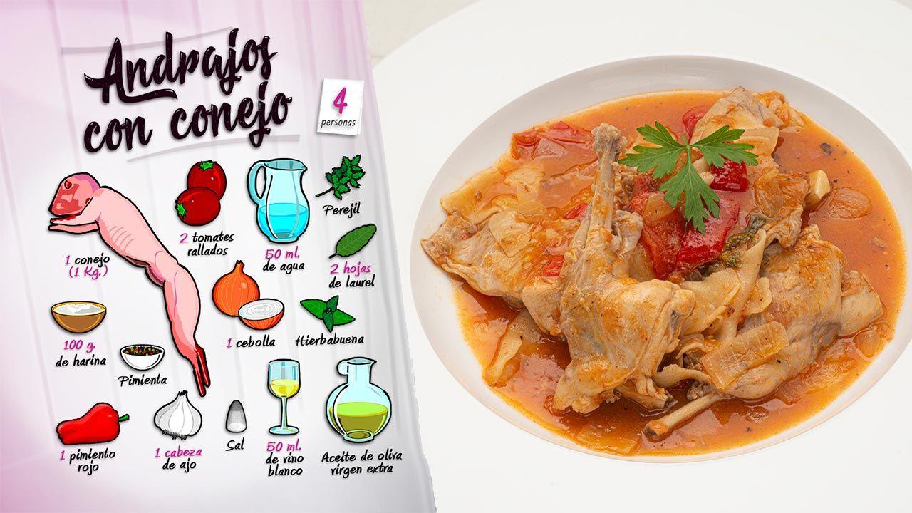 Andrajos con conejo, receta tradicional de Karlos Arguiñano - Ingredientes