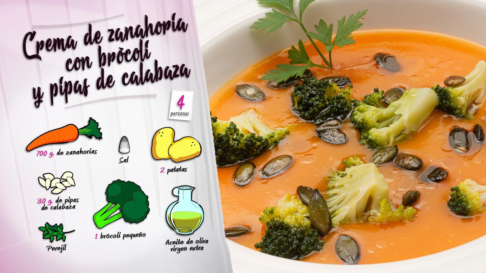Crema de zanahoria con brócoli y pipas de calabaza