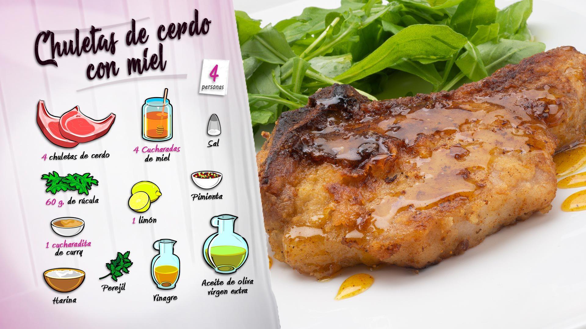 Chuletas de cerdo con miel