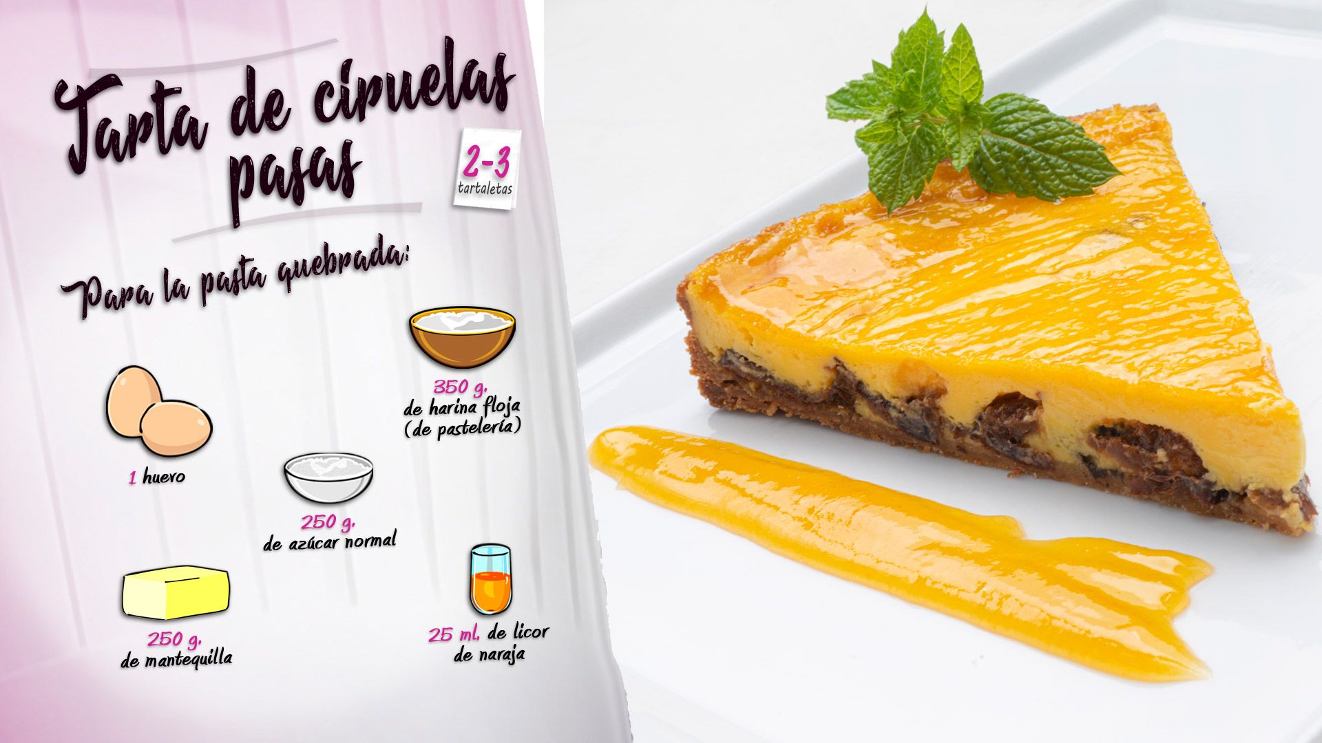 Tarta de ciruelas pasas: un postre fácil al horno de Eva Arguiñano - Ingredientes para la masa quebrada