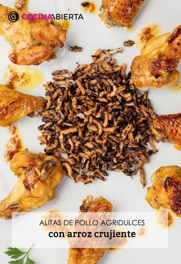Alitas de pollo agridulces con arroz crujiente