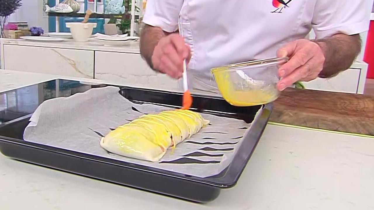 Trenza de trucha asalmonada con mermelada de cebolla