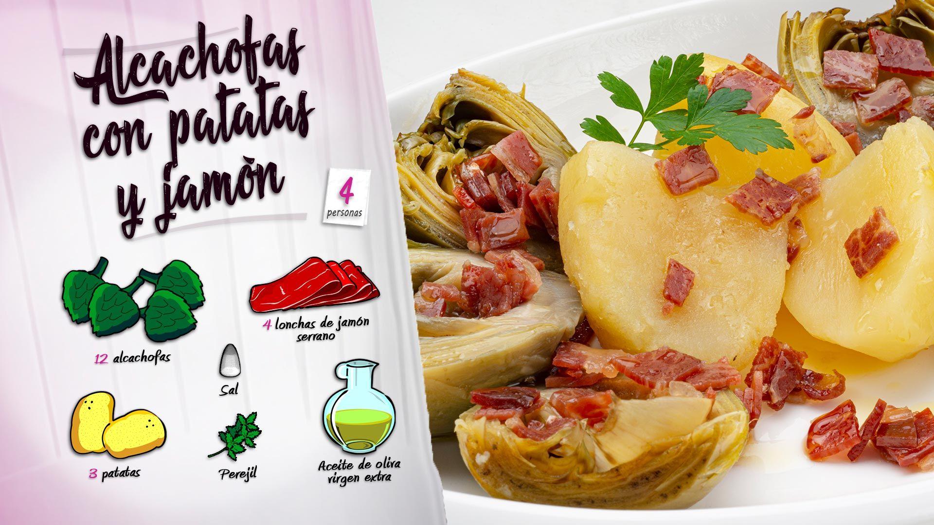 Alcachofas con patatas y jamón