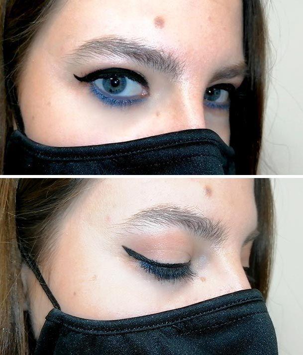Look de maquillaje de ojos con mascarilla negra